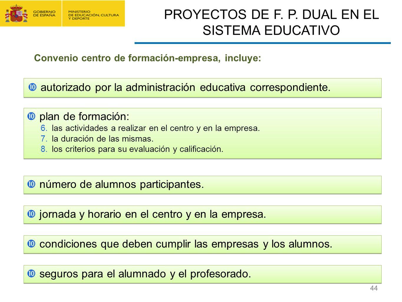 CONTRATO FORMACIÓN Y APRENDIZAJE Y FORMACIÓN PROFESIONAL DUAL 44 autorizado por la administración educativa correspondiente. PROYECTOS DE F. P. DUAL E