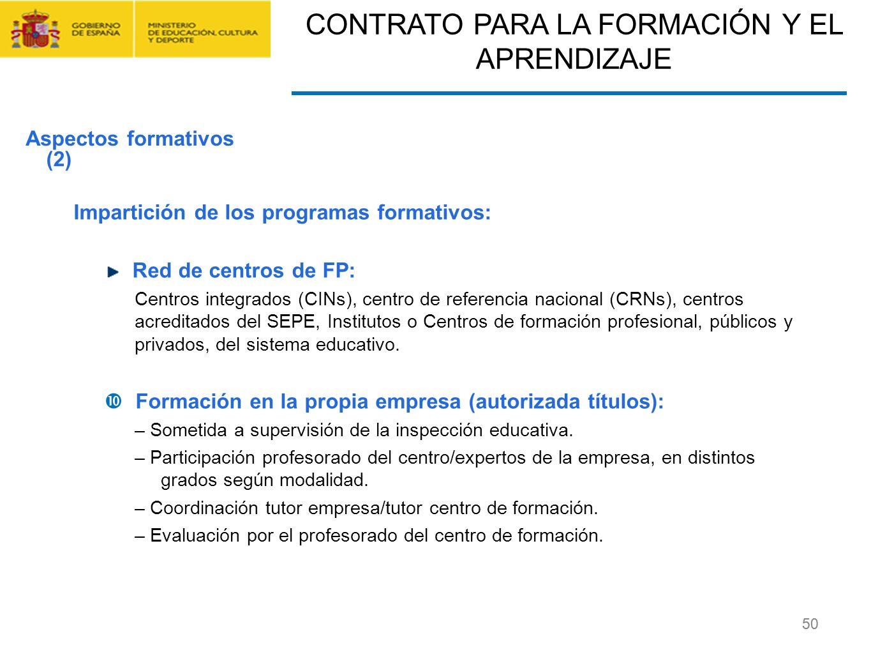 CONTRATO FORMACIÓN Y APRENDIZAJE Y FORMACIÓN PROFESIONAL DUAL 50 Impartición de los programas formativos: Red de centros de FP: Centros integrados (CI