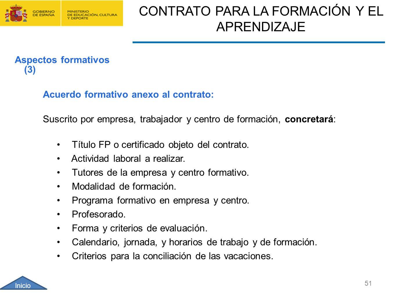 CONTRATO FORMACIÓN Y APRENDIZAJE Y FORMACIÓN PROFESIONAL DUAL 51 Acuerdo formativo anexo al contrato: Suscrito por empresa, trabajador y centro de for