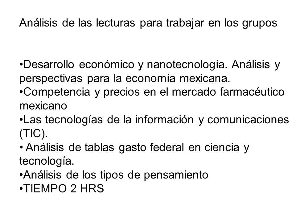 Análisis de las lecturas para trabajar en los grupos Desarrollo económico y nanotecnología. Análisis y perspectivas para la economía mexicana. Compete