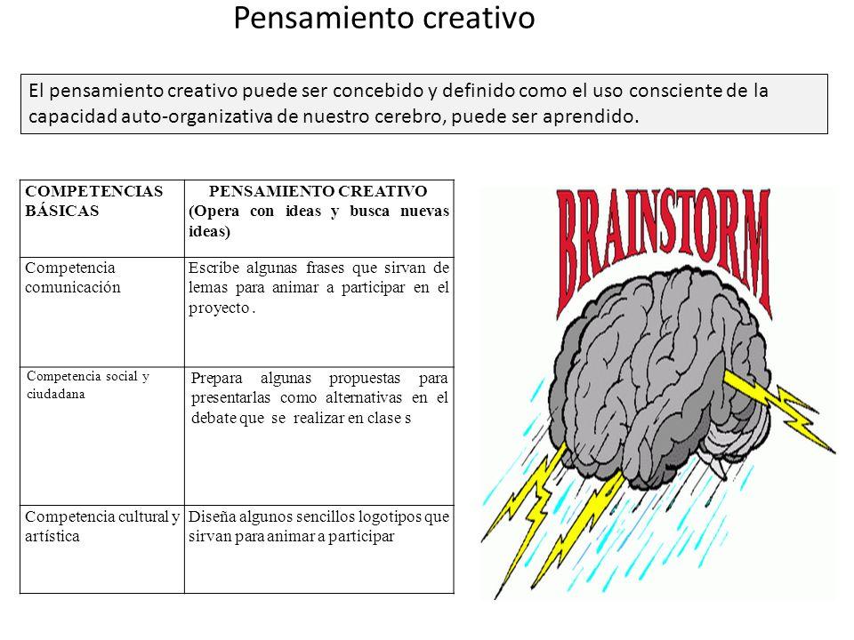 Pensamiento creativo El pensamiento creativo puede ser concebido y definido como el uso consciente de la capacidad auto-organizativa de nuestro cerebr