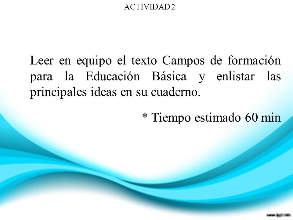 ACTIVIDAD 2 Leer en equipo el texto Campos de formación para la Educación Básica y enlistar las principales ideas en su cuaderno. * Tiempo estimado 60