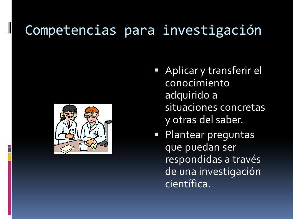 Competencias para investigación Aplicar y transferir el conocimiento adquirido a situaciones concretas y otras del saber. Plantear preguntas que pueda