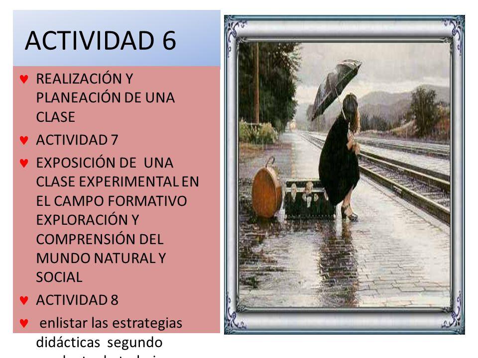 ACTIVIDAD 6 REALIZACIÓN Y PLANEACIÓN DE UNA CLASE ACTIVIDAD 7 EXPOSICIÓN DE UNA CLASE EXPERIMENTAL EN EL CAMPO FORMATIVO EXPLORACIÓN Y COMPRENSIÓN DEL