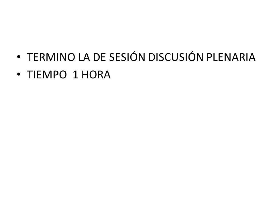 TERMINO LA DE SESIÓN DISCUSIÓN PLENARIA TIEMPO 1 HORA