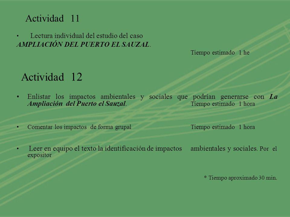 Actividad 11 Lectura individual del estudio del caso AMPLIACIÓN DEL PUERTO EL SAUZAL. Tiempo estimado 1 he Actividad 12 Enlistar los impactos ambienta