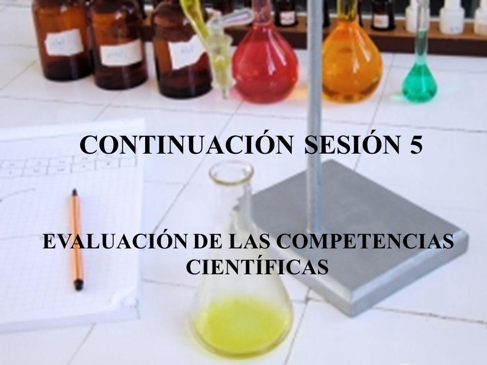 CONTINUACIÓN SESIÓN 5 EVALUACIÓN DE LAS COMPETENCIAS CIENTÍFICAS