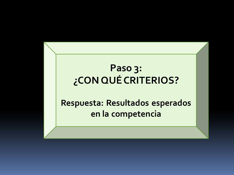 Paso 3: ¿CON QUÉ CRITERIOS? Respuesta: Resultados esperados en la competencia