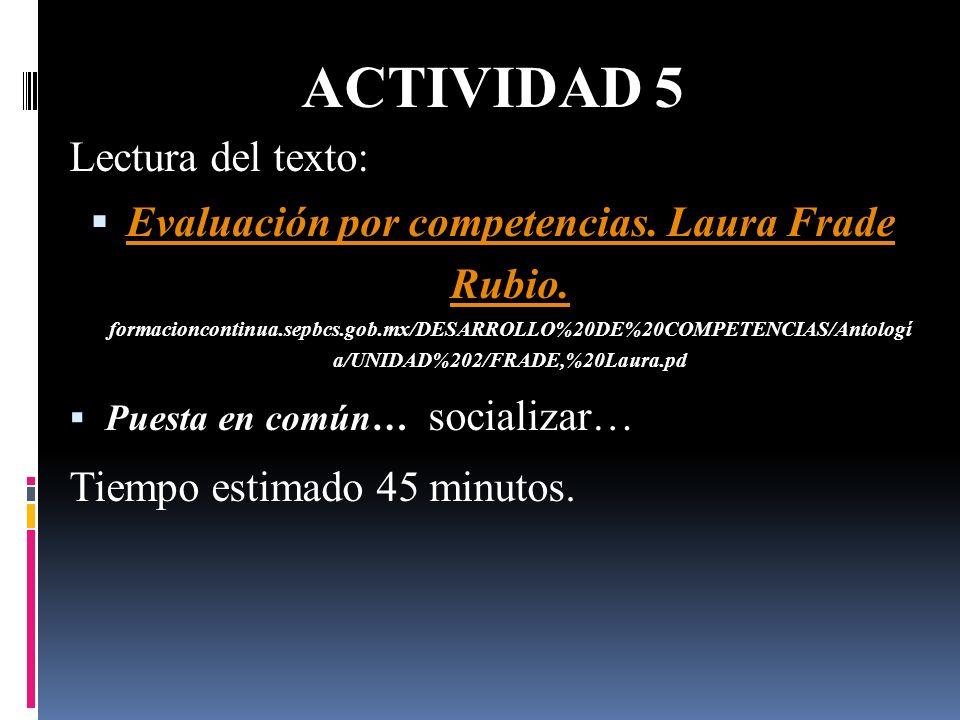ACTIVIDAD 5 Lectura del texto: Evaluación por competencias. Laura Frade Rubio. formacioncontinua.sepbcs.gob.mx/DESARROLLO%20DE%20COMPETENCIAS/Antologí