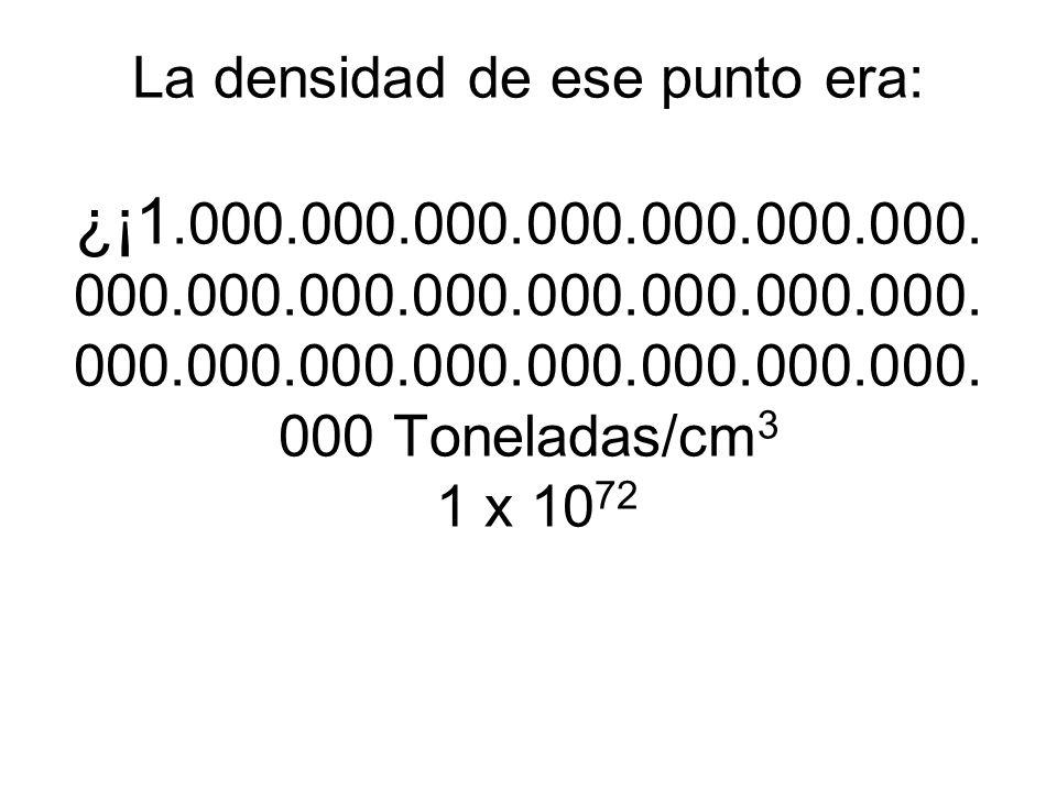 La densidad de ese punto era: ¿¡1.000.000.000.000.000.000.000. 000.000.000.000.000.000.000.000. 000.000.000.000.000.000.000.000. 000 Toneladas/cm 3 1