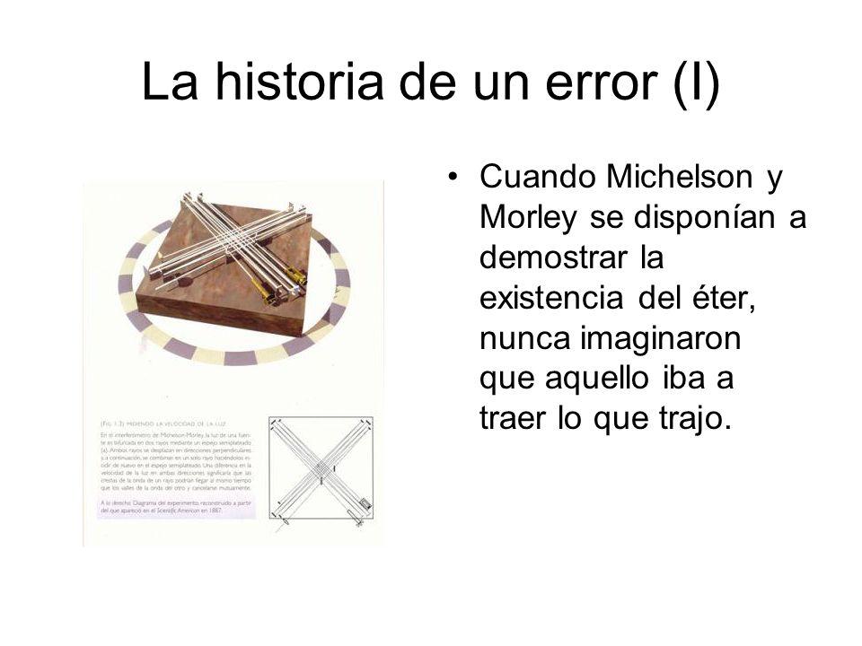 La historia de un error (I) Cuando Michelson y Morley se disponían a demostrar la existencia del éter, nunca imaginaron que aquello iba a traer lo que