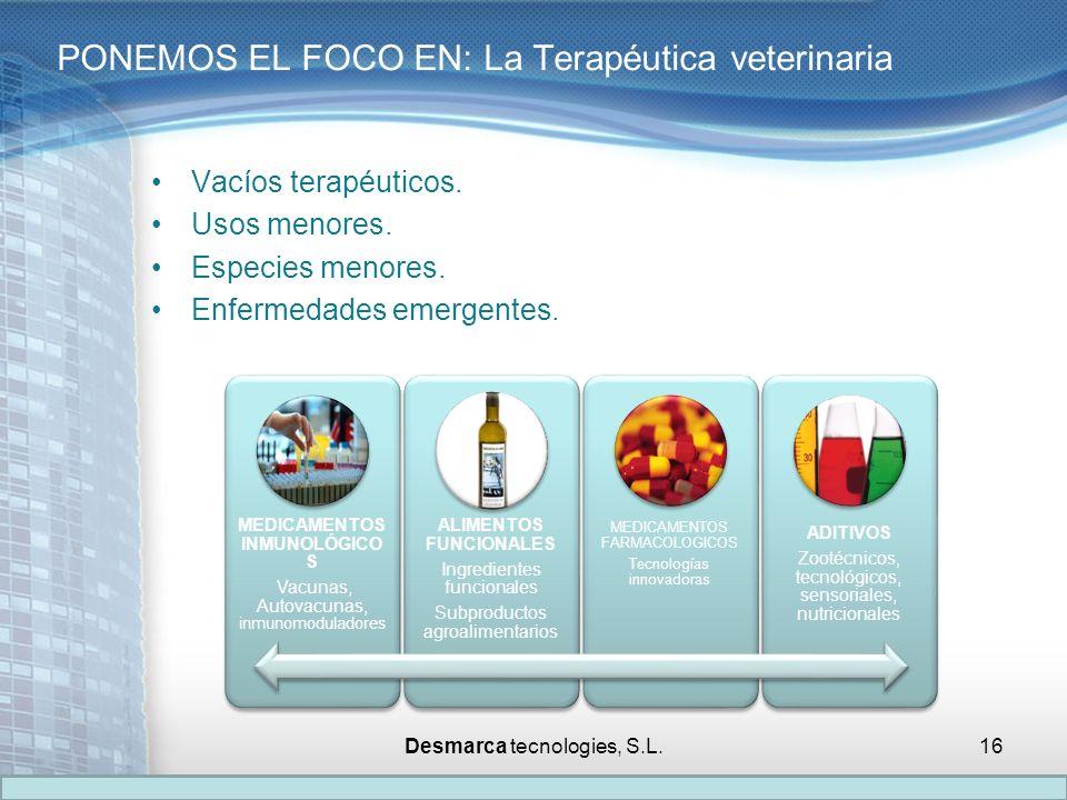 Vacíos terapéuticos. Usos menores. Especies menores. Enfermedades emergentes. PONEMOS EL FOCO EN: La Terapéutica veterinaria MEDICAMENTOS INMUNOLÓGICO