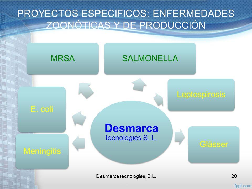 PROYECTOS ESPECIFICOS: ENFERMEDADES ZOONÓTICAS Y DE PRODUCCIÓN Desmarca tecnologies, S.L.20 Desmarca tecnologies S. L. Meningitis E. coli MRSASALMONEL