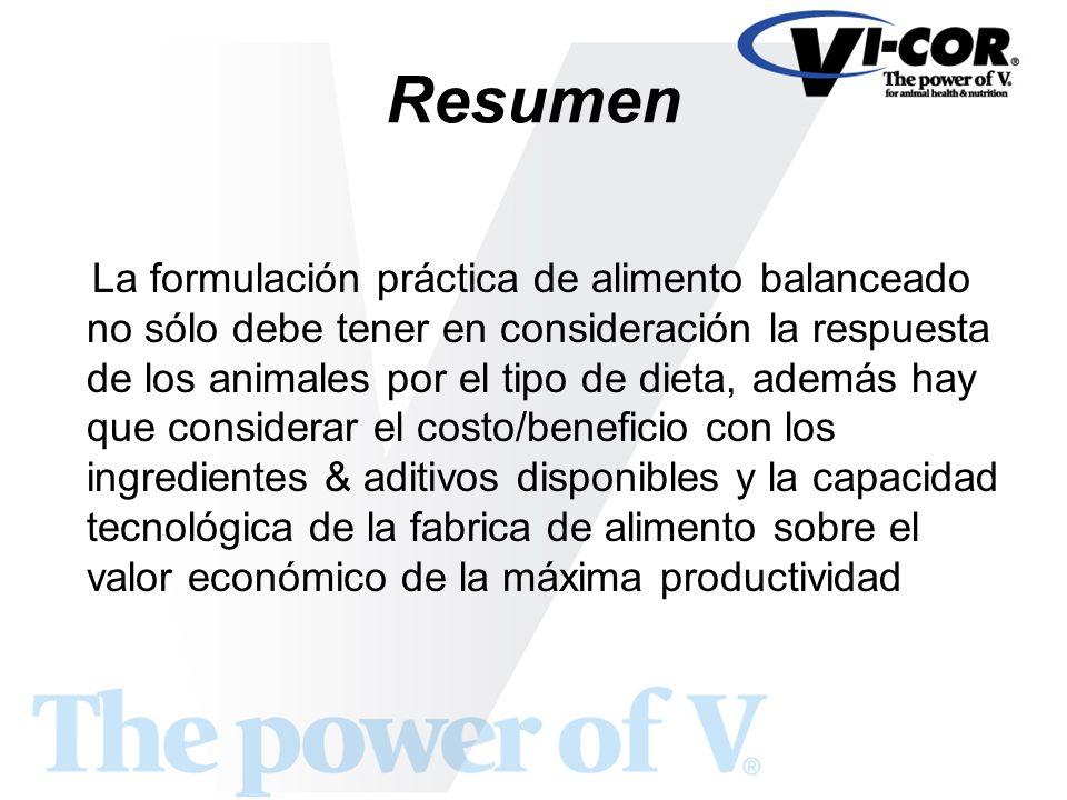 Resumen La formulación práctica de alimento balanceado no sólo debe tener en consideración la respuesta de los animales por el tipo de dieta, además h
