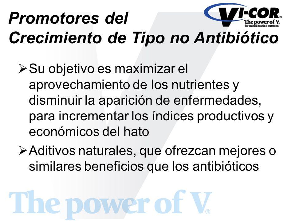 Promotores del Crecimiento de Tipo no Antibiótico Su objetivo es maximizar el aprovechamiento de los nutrientes y disminuir la aparición de enfermedad
