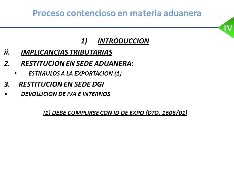 Proceso contencioso en materia aduanera 1)INTRODUCCION ii.IMPLICANCIAS TRIBUTARIAS 2.RESTITUCION EN SEDE ADUANERA: ESTIMULOS A LA EXPORTACION (1) 3. R