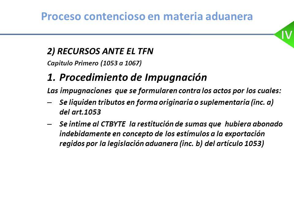 Proceso contencioso en materia aduanera 2) RECURSOS ANTE EL TFN Capitulo Primero (1053 a 1067) 1.Procedimiento de Impugnación Las impugnaciones que se