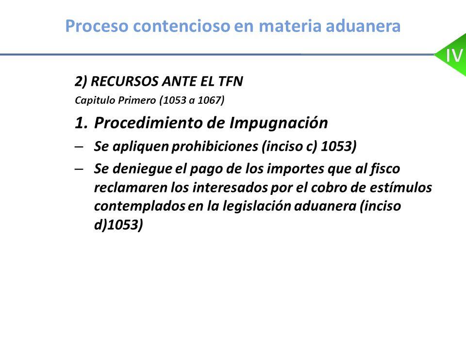 Proceso contencioso en materia aduanera 2) RECURSOS ANTE EL TFN Capitulo Primero (1053 a 1067) 1.Procedimiento de Impugnación – Se apliquen prohibicio