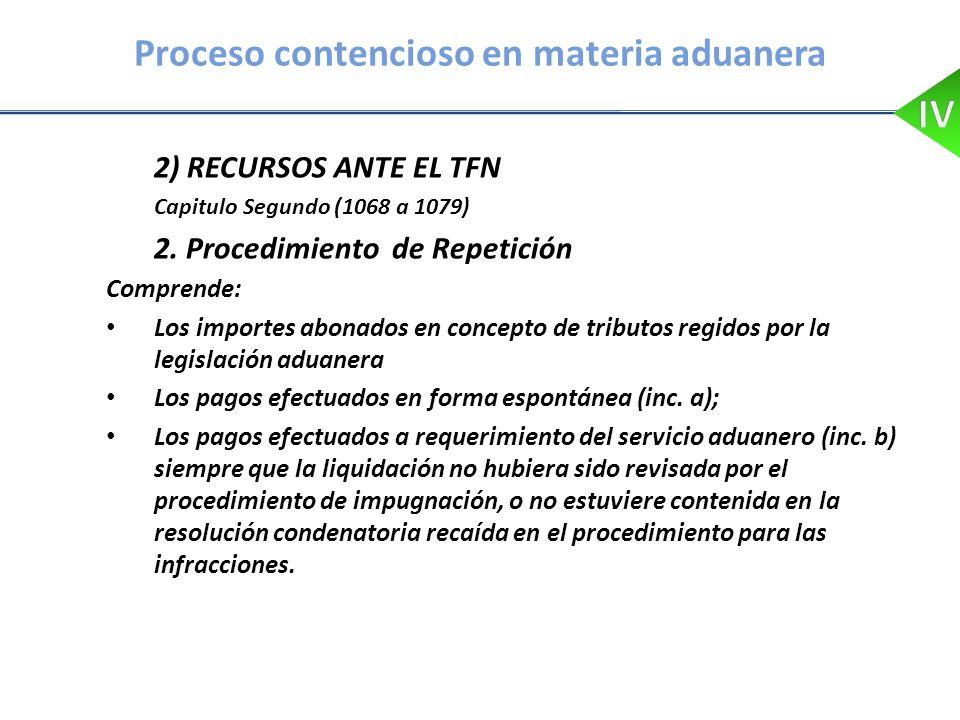 Proceso contencioso en materia aduanera 2) RECURSOS ANTE EL TFN Capitulo Segundo (1068 a 1079) 2. Procedimiento de Repetición Comprende: Los importes