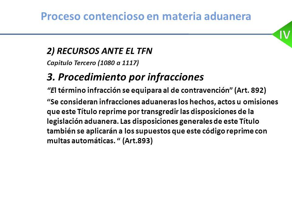 Proceso contencioso en materia aduanera 2) RECURSOS ANTE EL TFN Capitulo Tercero (1080 a 1117) 3. Procedimiento por infracciones El término infracción