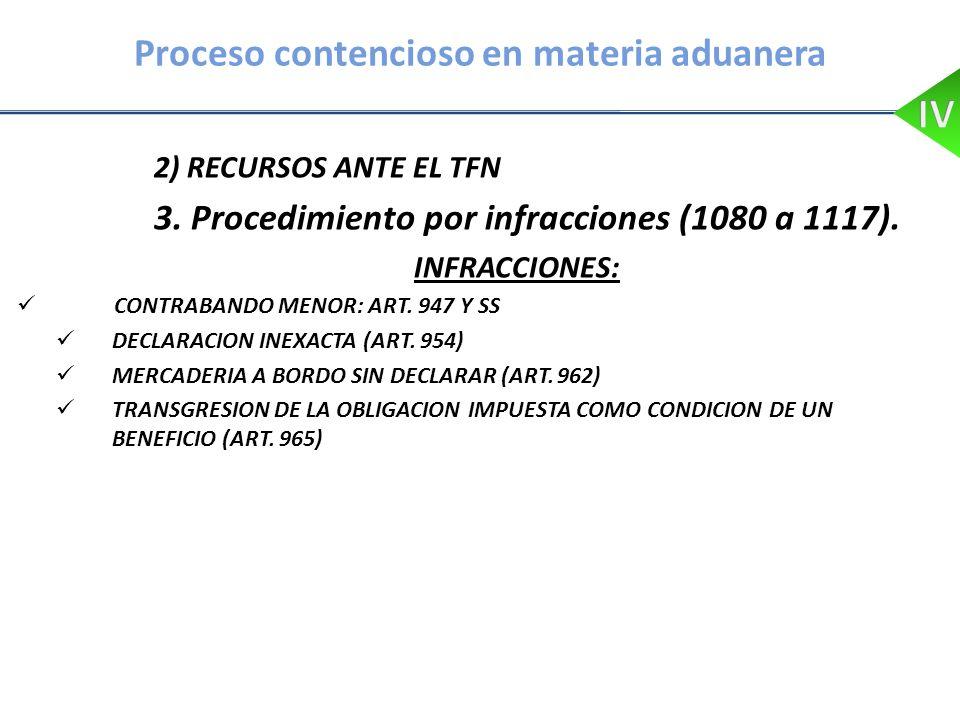Proceso contencioso en materia aduanera 2) RECURSOS ANTE EL TFN 3. Procedimiento por infracciones (1080 a 1117). INFRACCIONES: CONTRABANDO MENOR: ART.