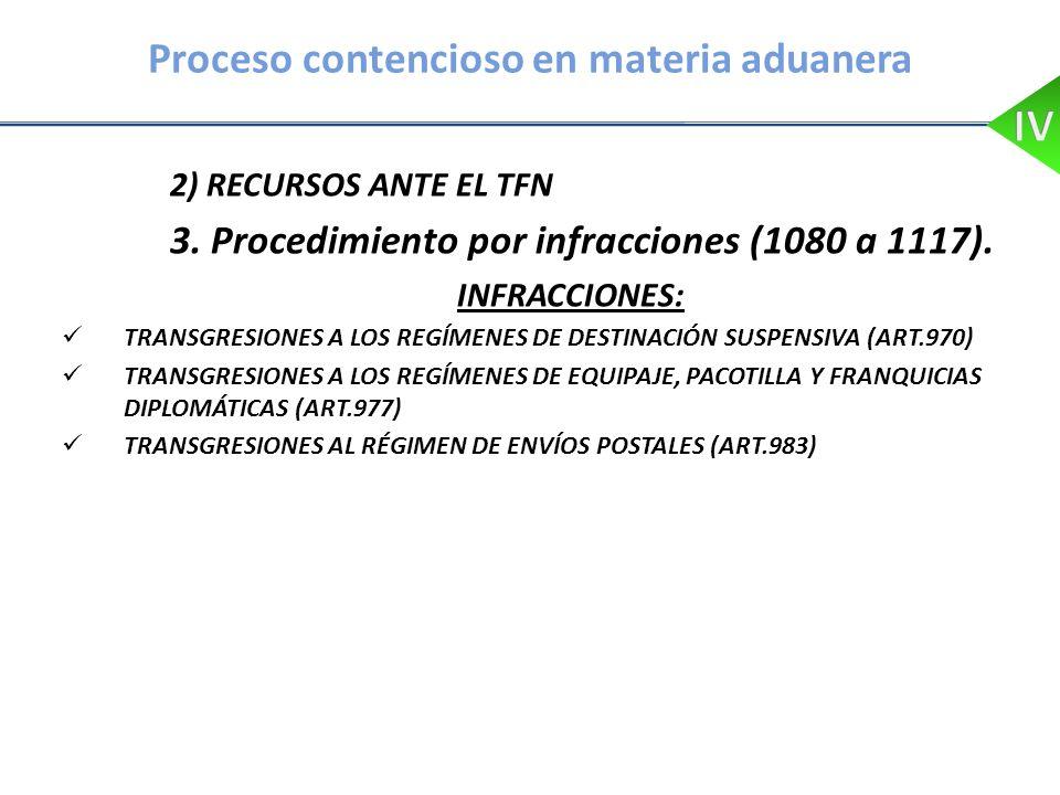 Proceso contencioso en materia aduanera 2) RECURSOS ANTE EL TFN 3. Procedimiento por infracciones (1080 a 1117). INFRACCIONES: TRANSGRESIONES A LOS RE