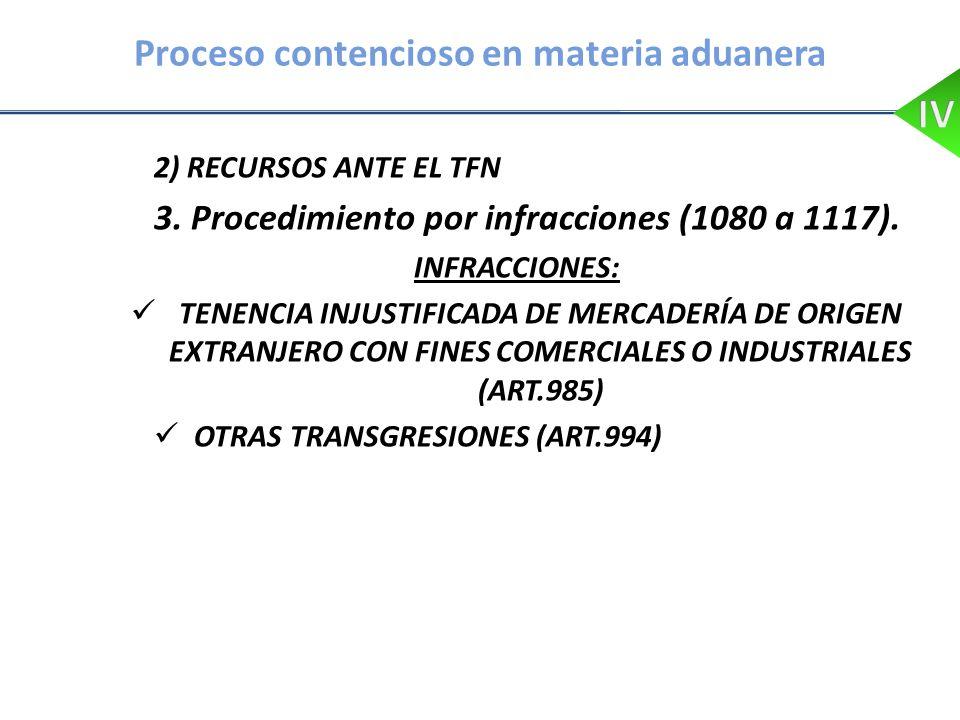 Proceso contencioso en materia aduanera 2) RECURSOS ANTE EL TFN 3. Procedimiento por infracciones (1080 a 1117). INFRACCIONES: TENENCIA INJUSTIFICADA