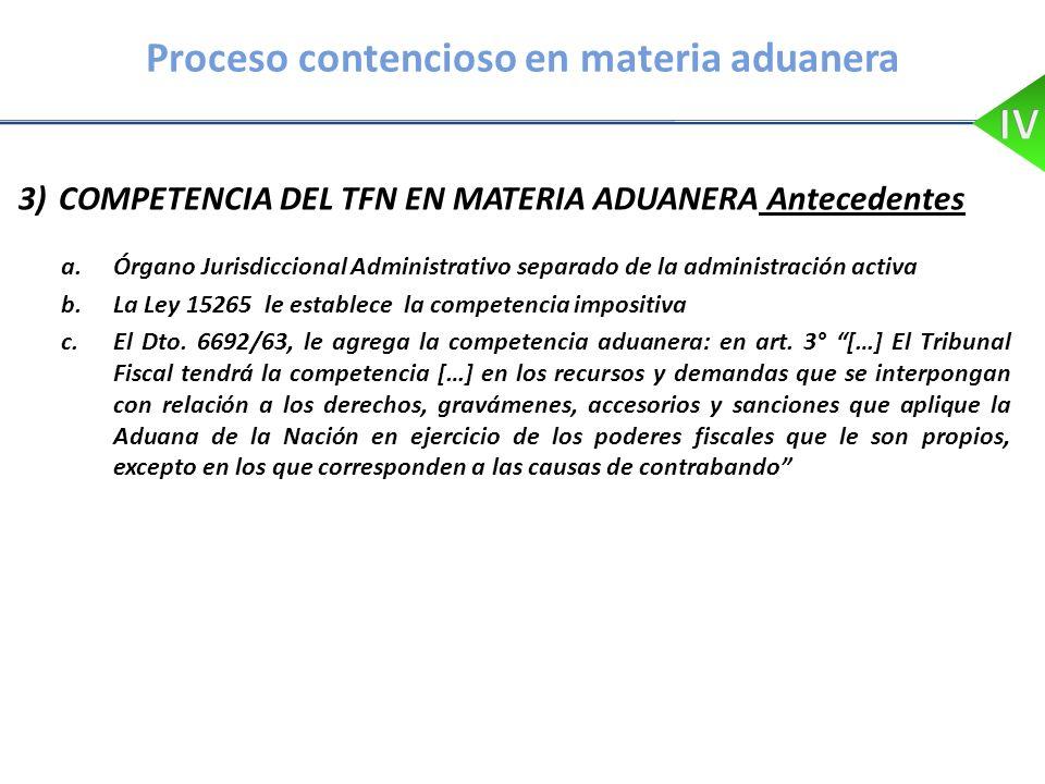 Proceso contencioso en materia aduanera 3) COMPETENCIA DEL TFN EN MATERIA ADUANERA Antecedentes a.Órgano Jurisdiccional Administrativo separado de la