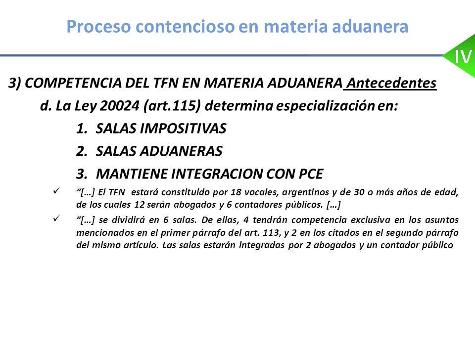 Proceso contencioso en materia aduanera 3) COMPETENCIA DEL TFN EN MATERIA ADUANERA Antecedentes d. La Ley 20024 (art.115) determina especialización en