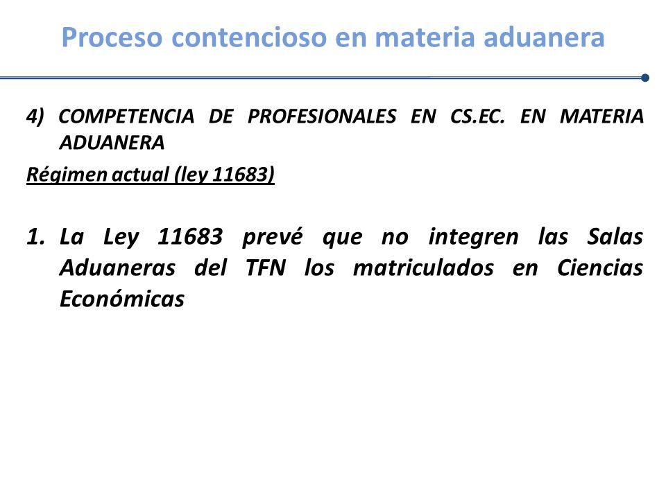 Proceso contencioso en materia aduanera 4) COMPETENCIA DE PROFESIONALES EN CS.EC. EN MATERIA ADUANERA Régimen actual (ley 11683) 1.La Ley 11683 prevé