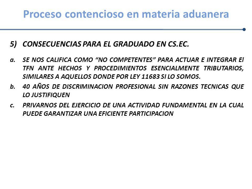 Proceso contencioso en materia aduanera 5)CONSECUENCIAS PARA EL GRADUADO EN CS.EC. a.SE NOS CALIFICA COMO NO COMPETENTES PARA ACTUAR E INTEGRAR El TFN