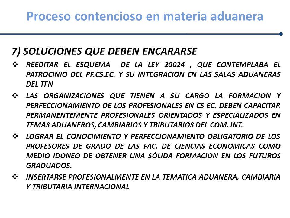 Proceso contencioso en materia aduanera 7) SOLUCIONES QUE DEBEN ENCARARSE REEDITAR EL ESQUEMA DE LA LEY 20024, QUE CONTEMPLABA EL PATROCINIO DEL PF.CS
