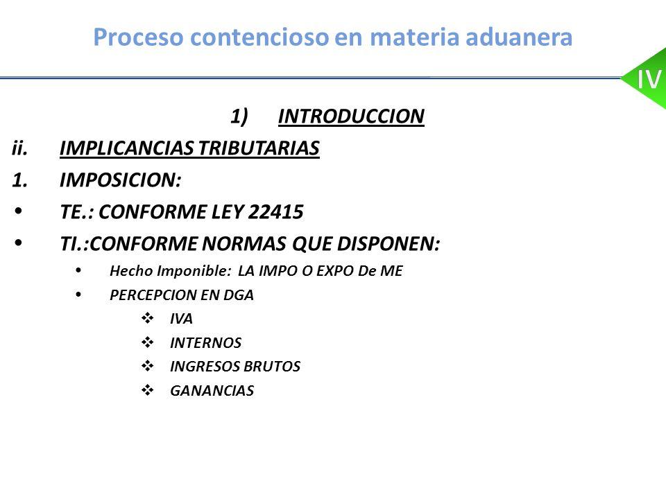 Proceso contencioso en materia aduanera 1)INTRODUCCION ii.IMPLICANCIAS TRIBUTARIAS 1.IMPOSICION: TE.: CONFORME LEY 22415 TI.:CONFORME NORMAS QUE DISPO