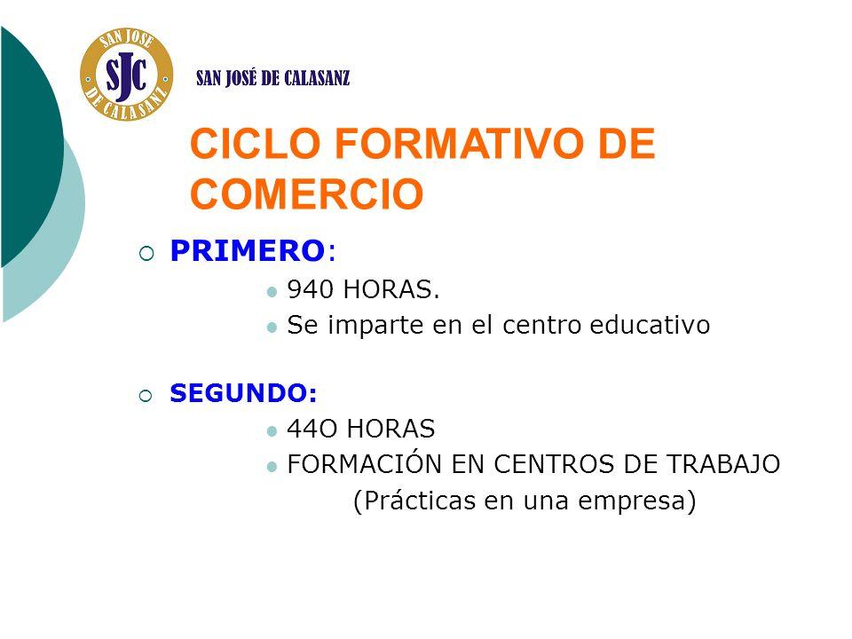 PRIMERO: 940 HORAS. Se imparte en el centro educativo SEGUNDO: 44O HORAS FORMACIÓN EN CENTROS DE TRABAJO (Prácticas en una empresa) CICLO FORMATIVO DE