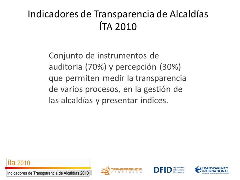 Conjunto de instrumentos de auditoria (70%) y percepción (30%) que permiten medir la transparencia de varios procesos, en la gestión de las alcaldías y presentar índices.