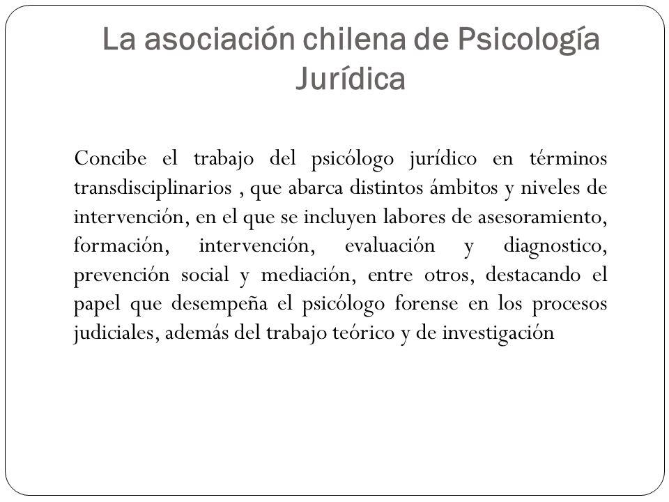 La asociación chilena de Psicología Jurídica Concibe el trabajo del psicólogo jurídico en términos transdisciplinarios, que abarca distintos ámbitos y