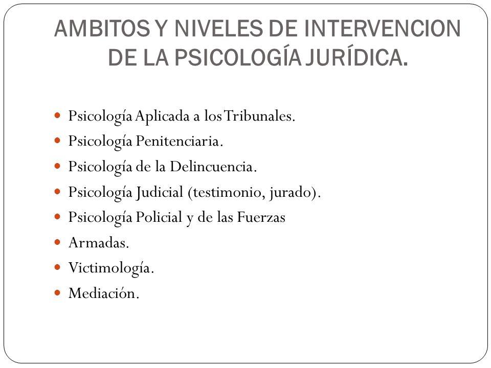 AMBITOS Y NIVELES DE INTERVENCION DE LA PSICOLOGÍA JURÍDICA. Psicología Aplicada a los Tribunales. Psicología Penitenciaria. Psicología de la Delincue