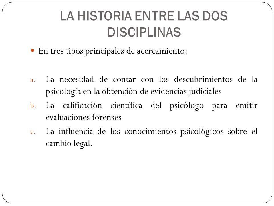 LA HISTORIA ENTRE LAS DOS DISCIPLINAS En tres tipos principales de acercamiento: a. La necesidad de contar con los descubrimientos de la psicología en