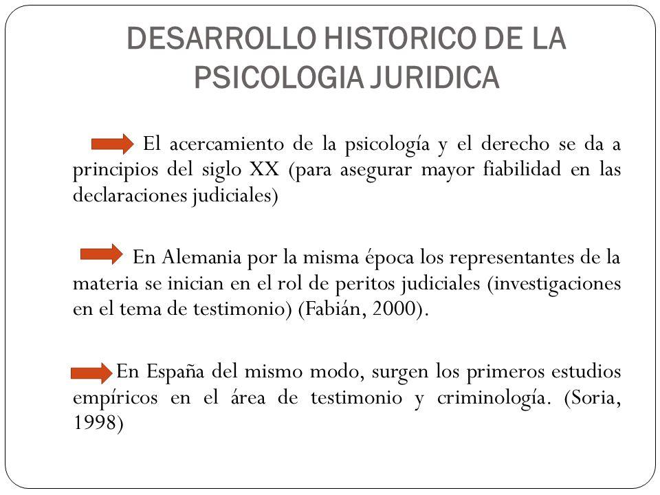 DESARROLLO HISTORICO DE LA PSICOLOGIA JURIDICA El acercamiento de la psicología y el derecho se da a principios del siglo XX (para asegurar mayor fiab
