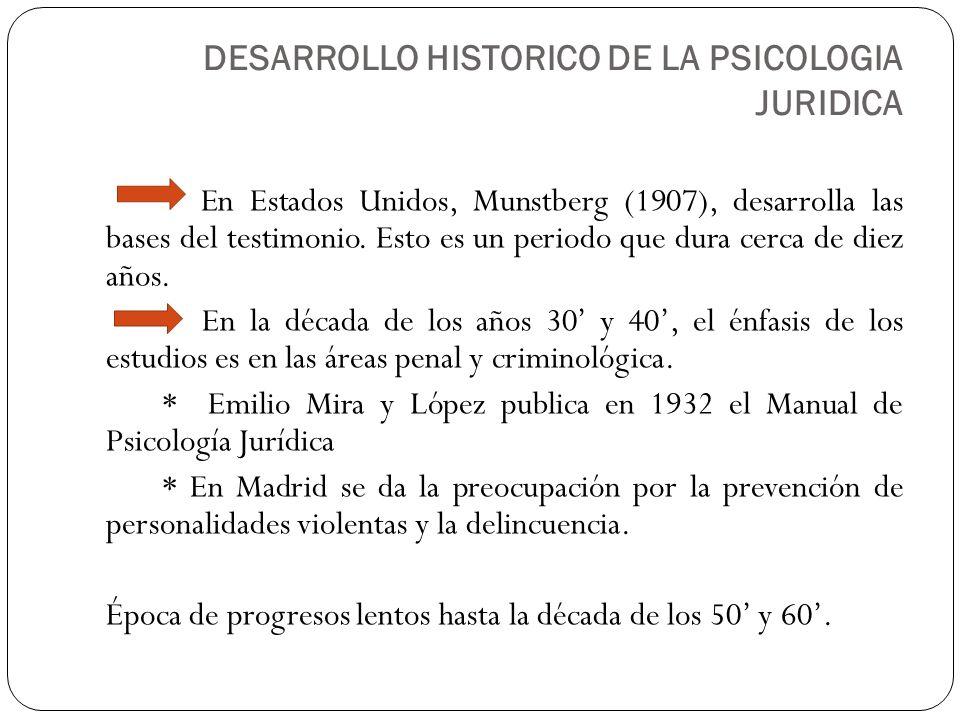 En Estados Unidos, Munstberg (1907), desarrolla las bases del testimonio. Esto es un periodo que dura cerca de diez años. En la década de los años 30