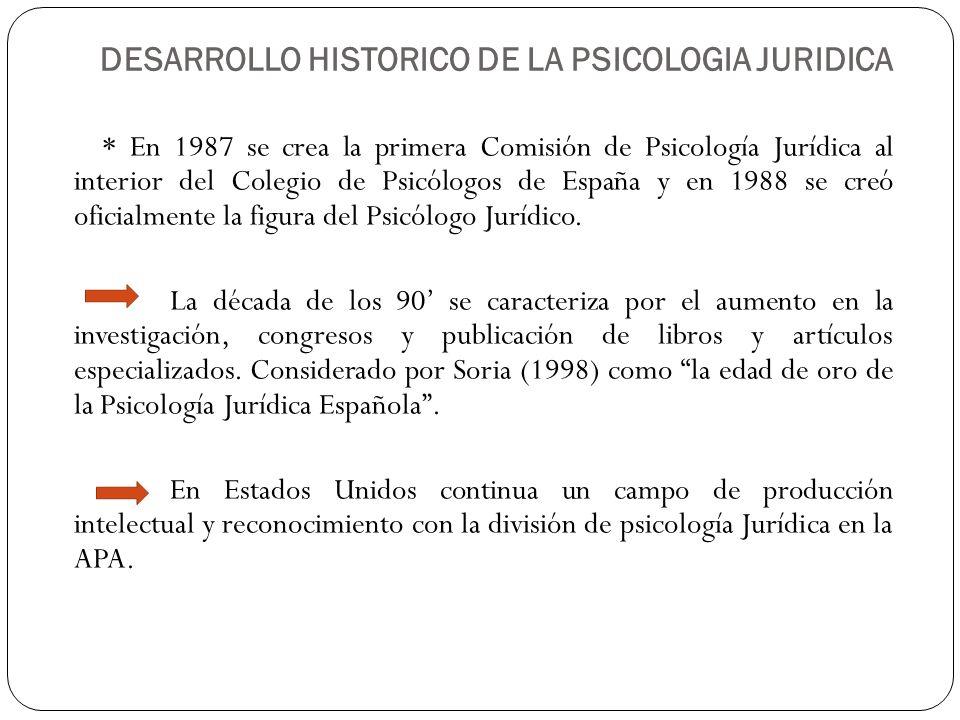* En 1987 se crea la primera Comisión de Psicología Jurídica al interior del Colegio de Psicólogos de España y en 1988 se creó oficialmente la figura
