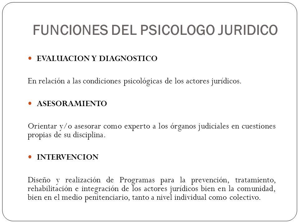 FUNCIONES DEL PSICOLOGO JURIDICO EVALUACION Y DIAGNOSTICO En relación a las condiciones psicológicas de los actores jurídicos. ASESORAMIENTO Orientar