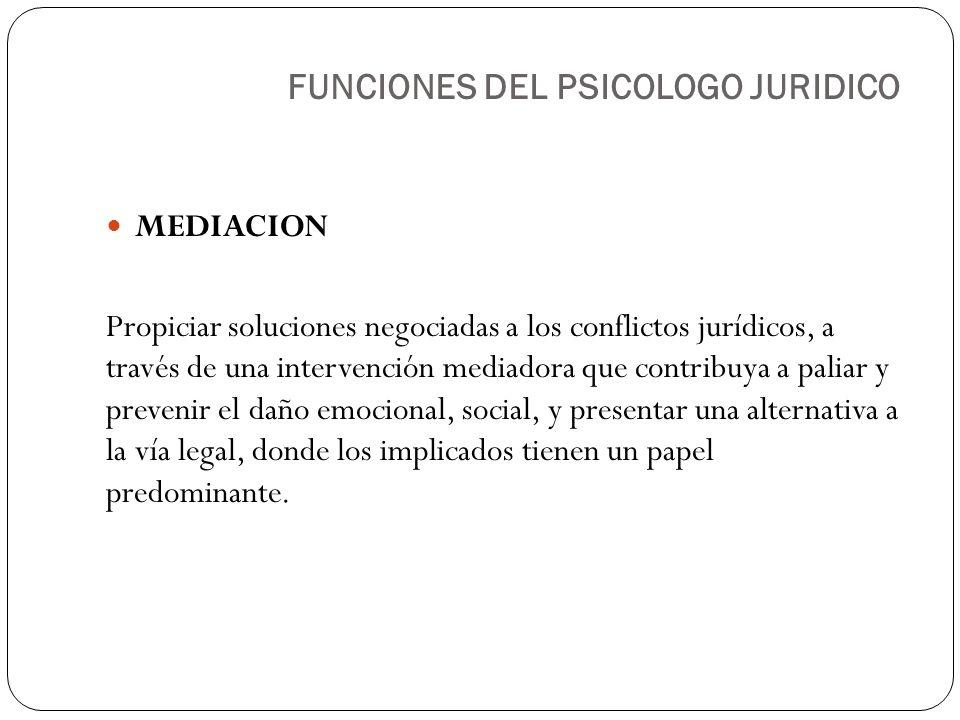 MEDIACION Propiciar soluciones negociadas a los conflictos jurídicos, a través de una intervención mediadora que contribuya a paliar y prevenir el dañ