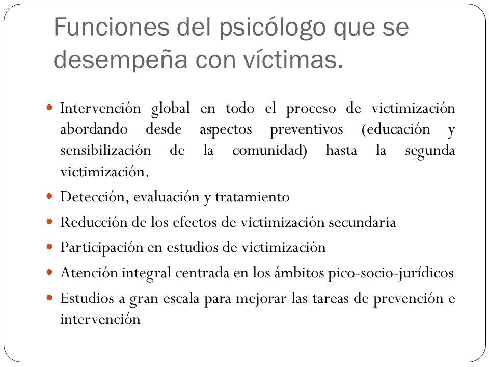 Funciones del psicólogo que se desempeña con víctimas. Intervención global en todo el proceso de victimización abordando desde aspectos preventivos (e