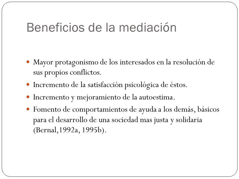 Beneficios de la mediación Mayor protagonismo de los interesados en la resolución de sus propios conflictos. Incremento de la satisfacción psicológica