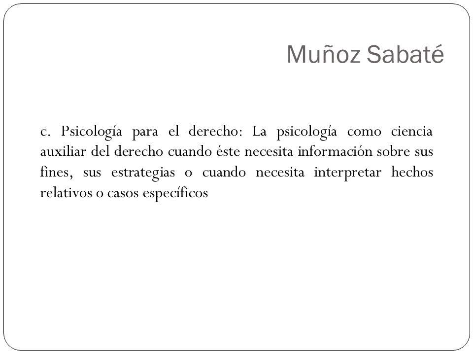 Muñoz Sabaté c. Psicología para el derecho: La psicología como ciencia auxiliar del derecho cuando éste necesita información sobre sus fines, sus estr
