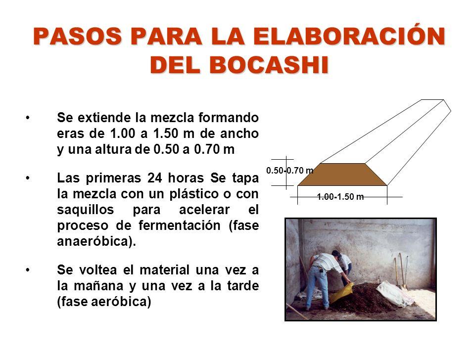 PASOS PARA LA ELABORACIÓN DEL BOCASHI Se extiende la mezcla formando eras de 1.00 a 1.50 m de ancho y una altura de 0.50 a 0.70 m Las primeras 24 hora