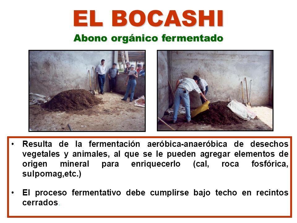 EL BOCASHI ( Uso y Manejo) USOS En cultivos de ciclo corto (hortalizas y granos) En Cultivos bianuales y perennes (cacao, plátano, banano, café, frutales) En la elaboración de sustratos para almácigos Al momento del trasplante de las plántulas