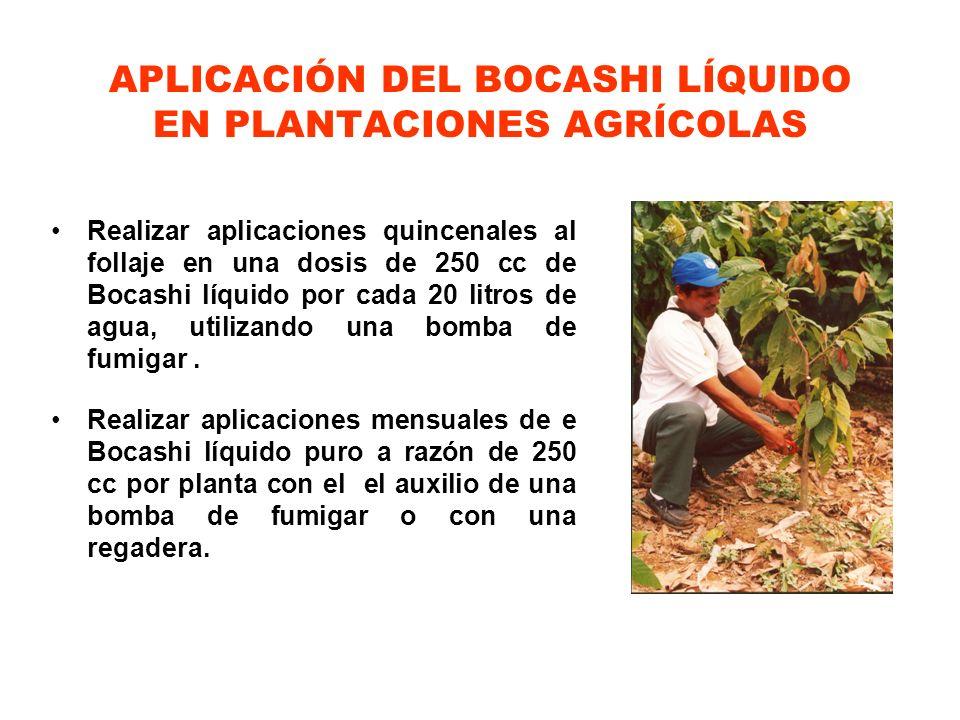 APLICACIÓN DEL BOCASHI LÍQUIDO EN PLANTACIONES AGRÍCOLAS Realizar aplicaciones quincenales al follaje en una dosis de 250 cc de Bocashi líquido por ca