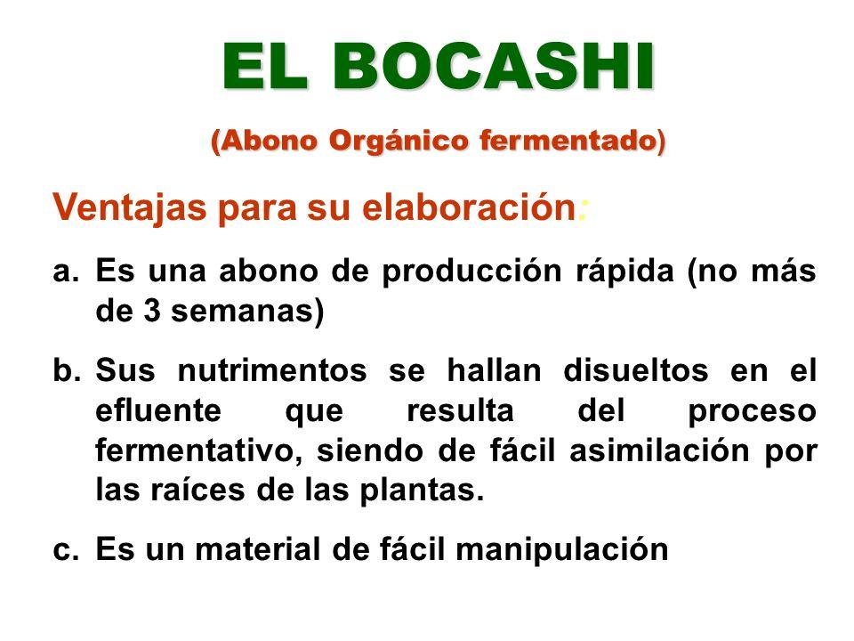 EL BOCASHI ( Uso y Manejo) En cultivos como plátano, banano, frutales, cacao, café y ornamentales, se pueden hacer de 3 a 4 ciclos, colocando el abono alrededor de las plantas o en media luna.